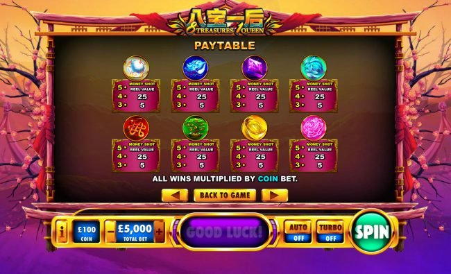 Casino.com featuring the Video Slots 8 Treasures 1 Queen with a maximum payout of $1,000,000