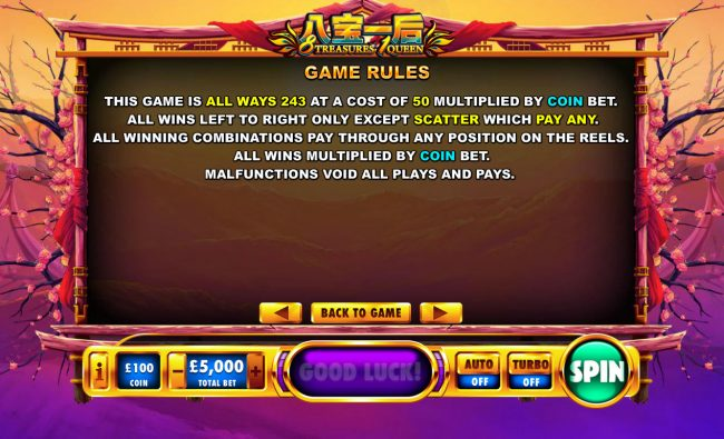 Money Storm featuring the Video Slots 8 Treasures 1 Queen with a maximum payout of $1,000,000