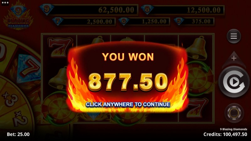 9 Blazing Diamonds :: Total Free Spins Payout