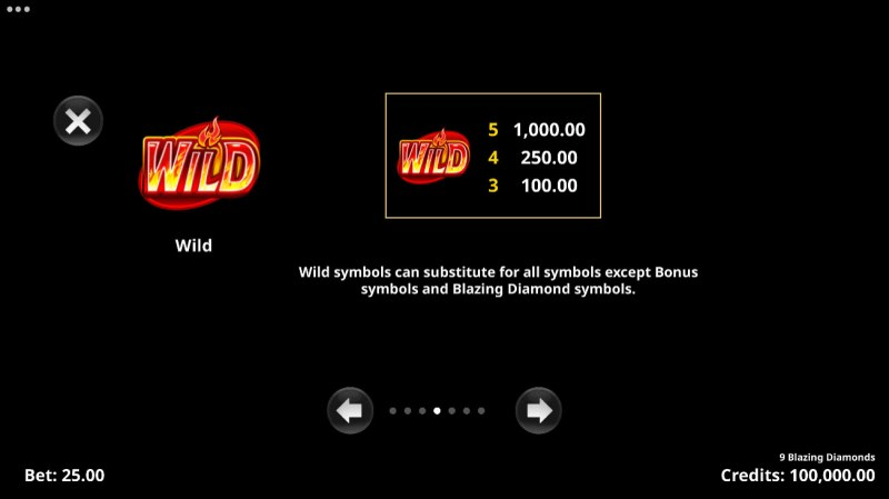 9 Blazing Diamonds :: Wild Symbol Rules