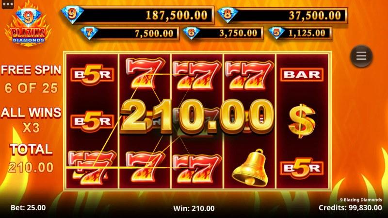 9 Blazing Diamonds :: Free Spins Game Board