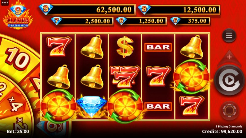 9 Blazing Diamonds :: Scatter symbols triggers the free spins bonus feature