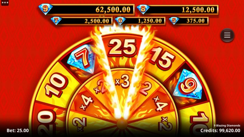 9 Blazing Diamonds :: Spin the wheel to win free games and win multiplier