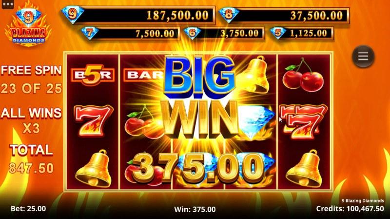 9 Blazing Diamonds :: Big Win