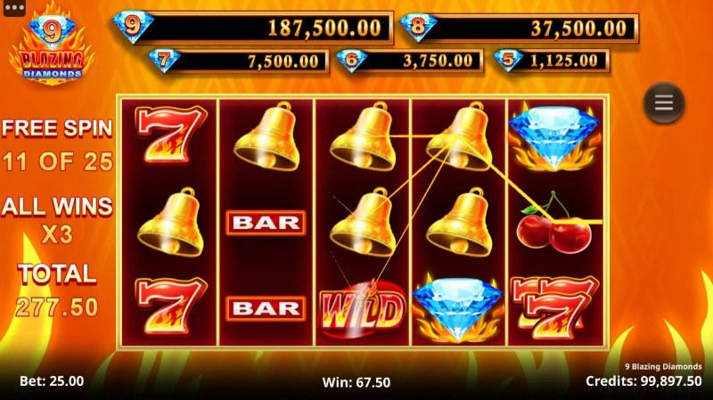 9 Blazing Diamonds :: A four of a kind win