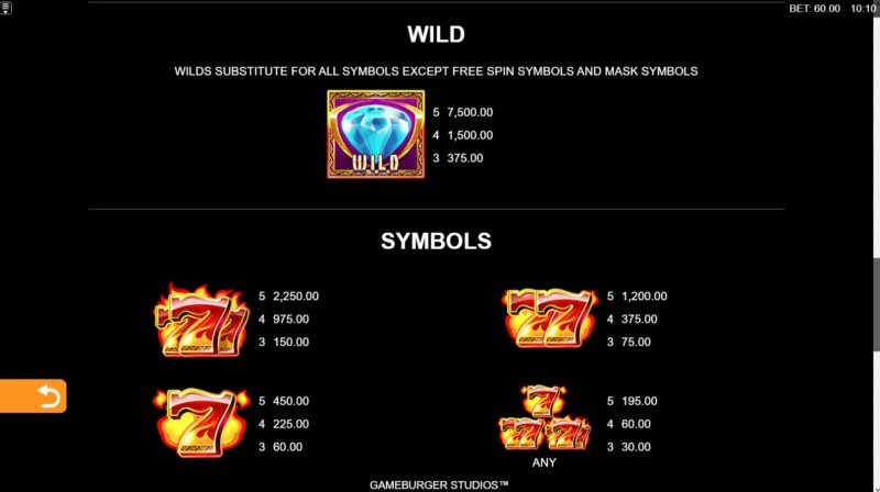 9 Masks of Fire :: Wild Symbols Rules