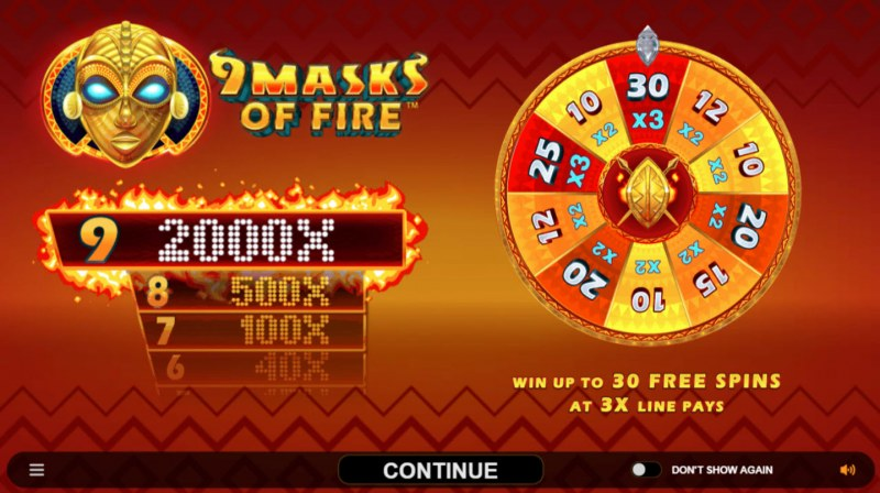 Play slots at Royal Vegas: Royal Vegas featuring the Video Slots 9 Masks of Fire with a maximum payout of $120,000