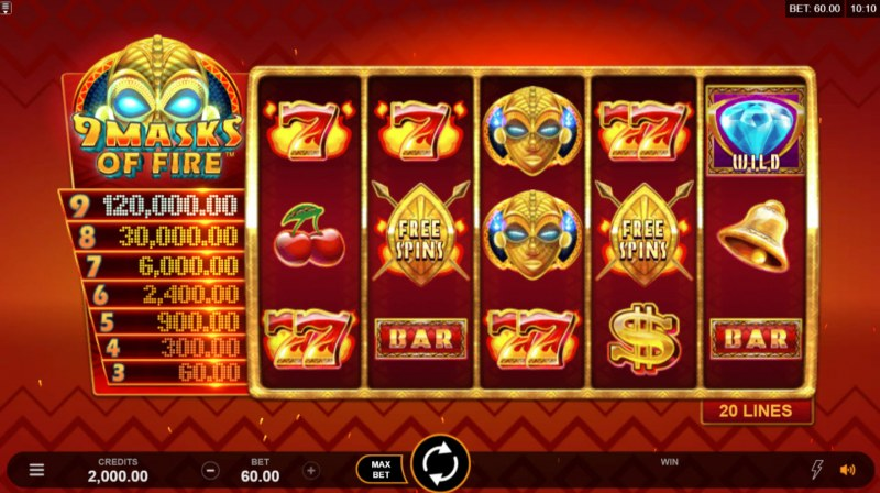 Play slots at Chanz: Chanz featuring the Video Slots 9 Masks of Fire with a maximum payout of $120,000