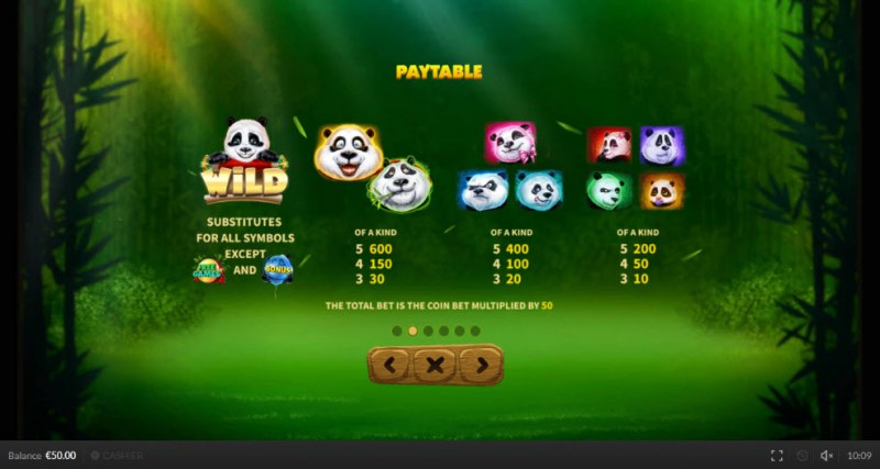 9 Pandas On Top :: Paytable