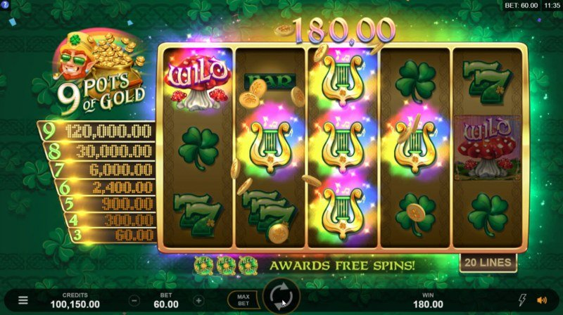9 Pots of Gold :: Multiple winning paylines