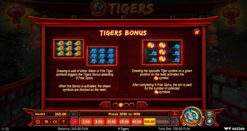 9 Tigers :: Bonus Game Rules