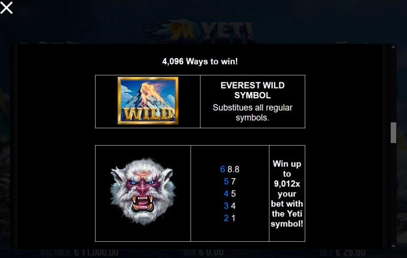 9K Yeti :: Wild Symbols Rules