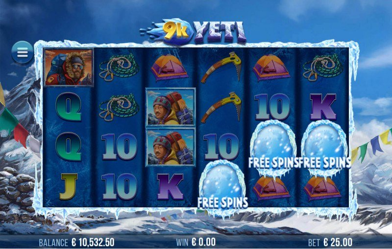 9K Yeti :: Scatter symbols triggers the free spins feature