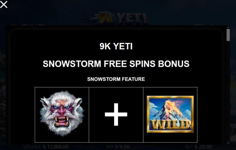 9K Yeti :: Snowstorm Free Spins Bonus