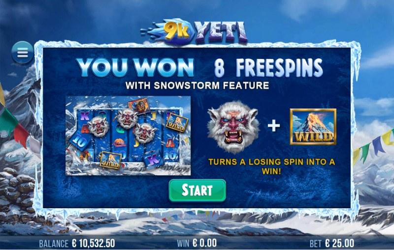 9K Yeti :: 8 Free Spins Awarded
