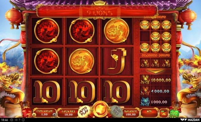 Play slots at Boo Casino: Boo Casino featuring the Video Slots 9 Lions with a maximum payout of $5,000