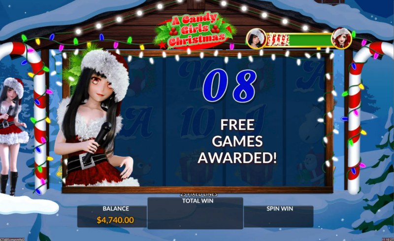A Candy Girls Christmas :: 8 Free Spins Awarded
