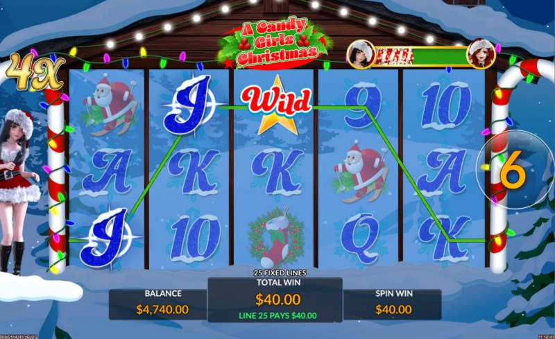 A Candy Girls Christmas :: Free Spins Game Board