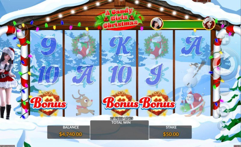 A Candy Girls Christmas :: Scatter symbols triggers the free spins feature