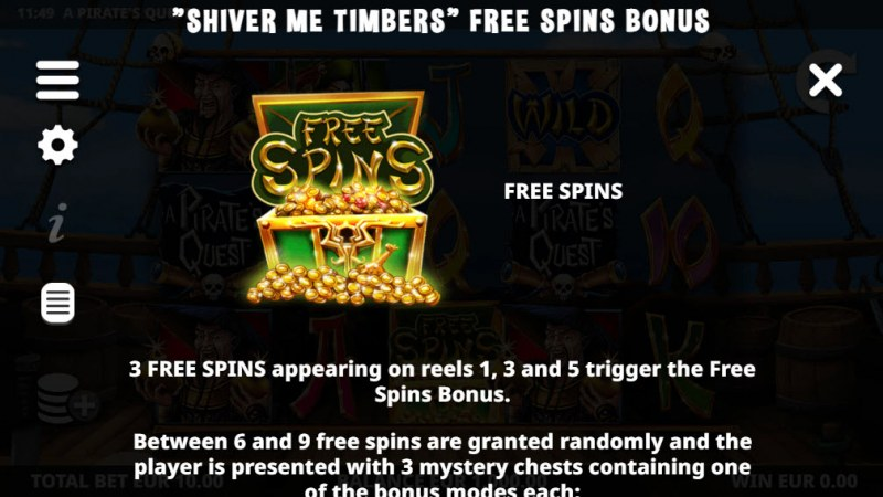 A Pirate's Quest :: Free Spin Feature Rules