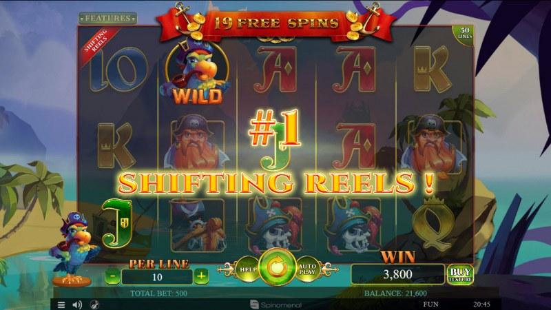 A Pirate's Quest :: Shifting Reels feature activated after every winning combination