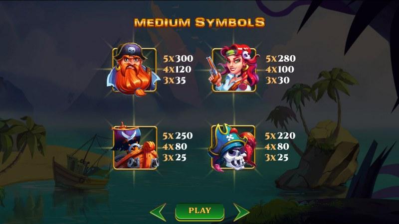 A Pirate's Quest :: Paytable - Medium Value Symbols