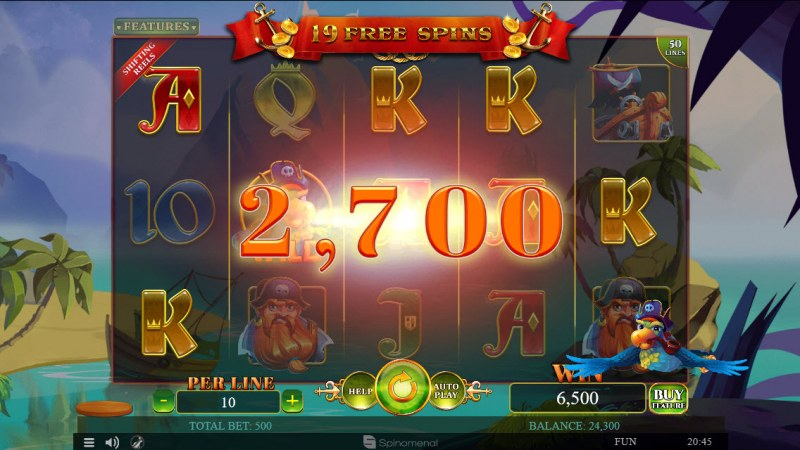A Pirate's Quest :: Shifting Reels feature triggers multiple winning paylines