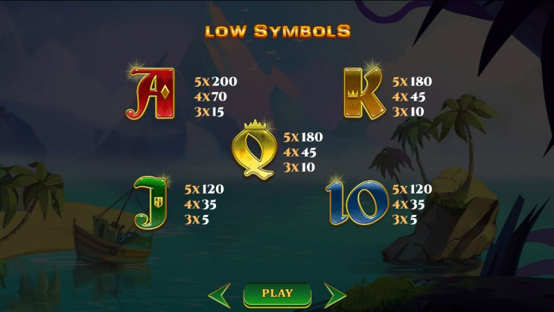 A Pirate's Quest :: Paytable - Low Value Symbols