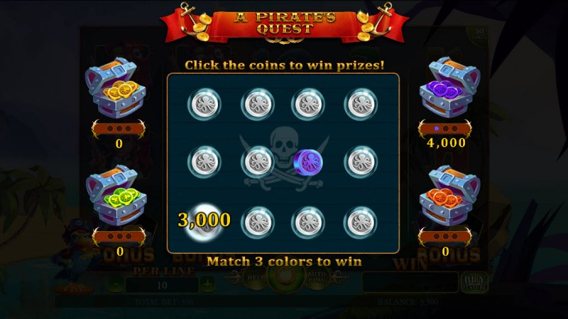 A Pirate's Quest :: Pick coins and match 3 to win that treasure chest