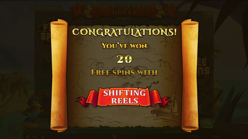 A Pirate's Quest :: 20 Free Spins Awarded