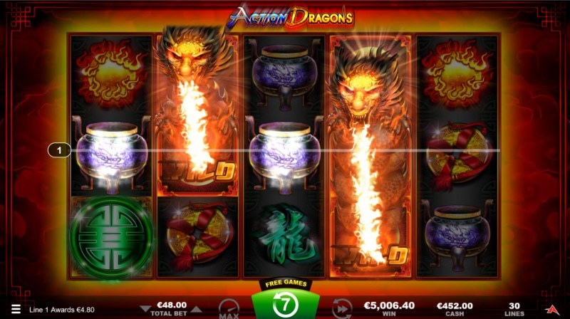 Action Dragons :: A four of a kind win