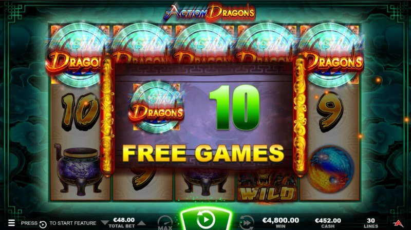 Action Dragons :: Scatter symbols triggers the free spins bonus feature