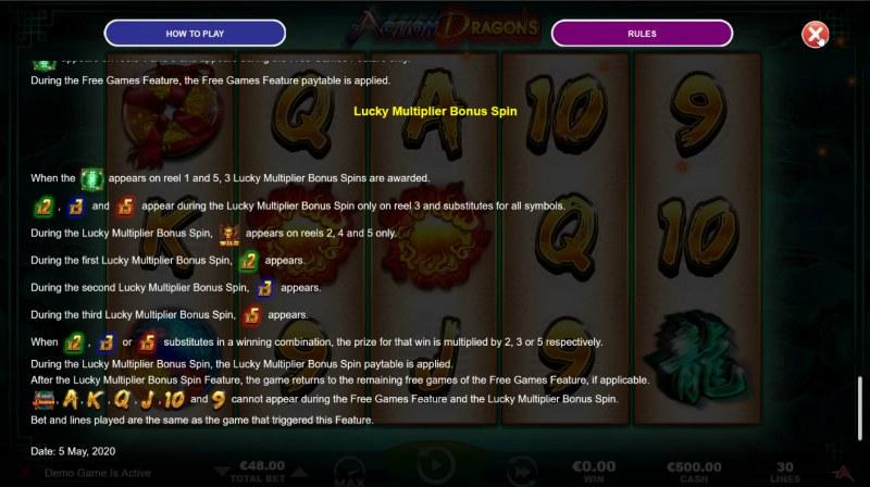 Action Dragons :: Lucky Multiplier Bonus Spin