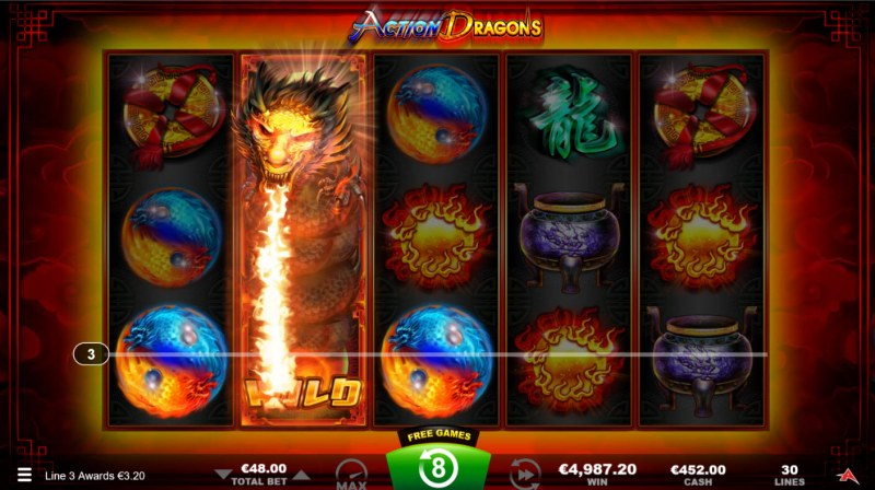 Action Dragons :: Free Spins Game Board