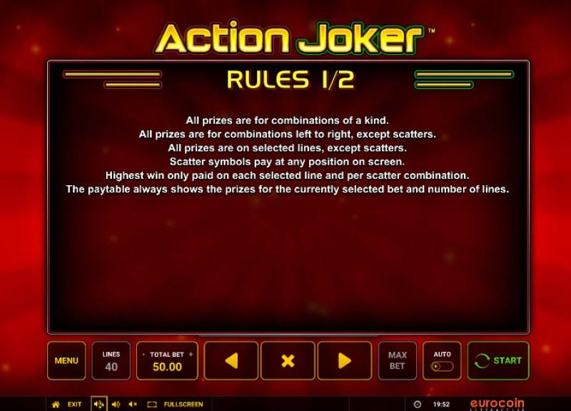 Action Joker :: General Game Rules