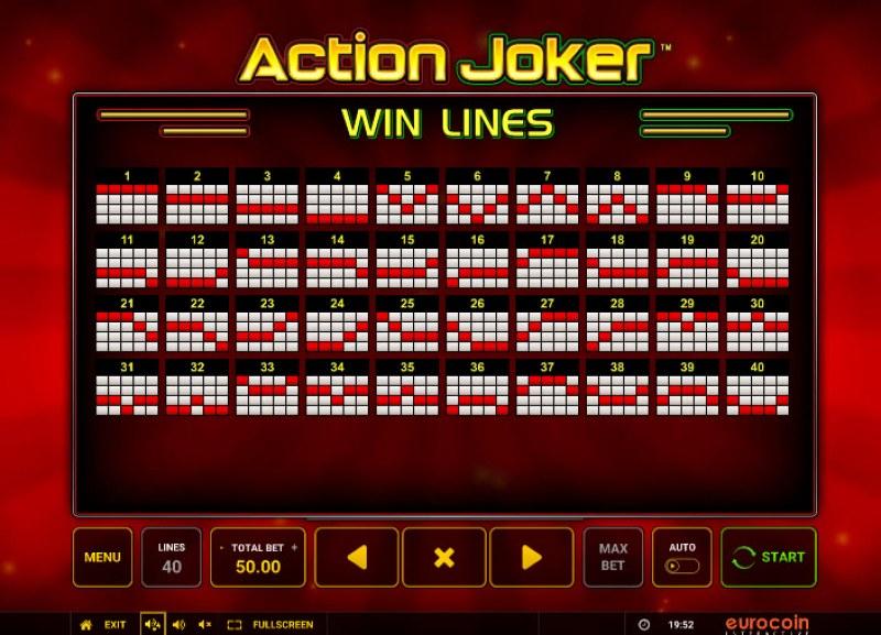Action Joker :: Paylines 1-40