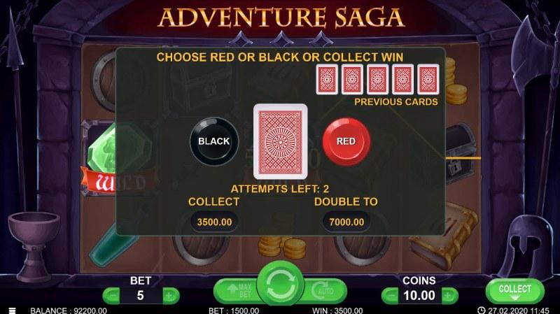 Adventure Saga :: Black or Red Gamble Feature