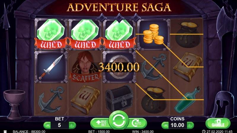 Adventure Saga :: Multiple winning paylines