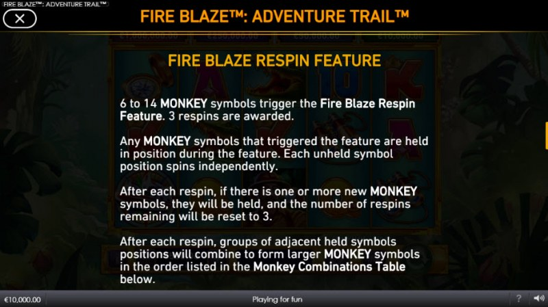 Adventure Trail Fire Blaze Jackpots :: Respin Feature Rules