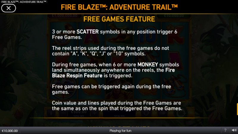 Adventure Trail Fire Blaze Jackpots :: Free Spins Rules