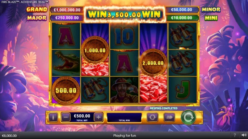 Adventure Trail Fire Blaze Jackpots :: Total respin pays out