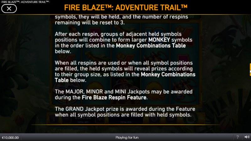 Adventure Trail Fire Blaze Jackpots :: Feature Rules