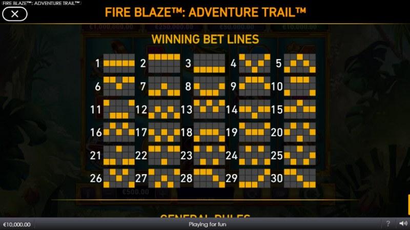 Adventure Trail Fire Blaze Jackpots :: Paylines 1-30