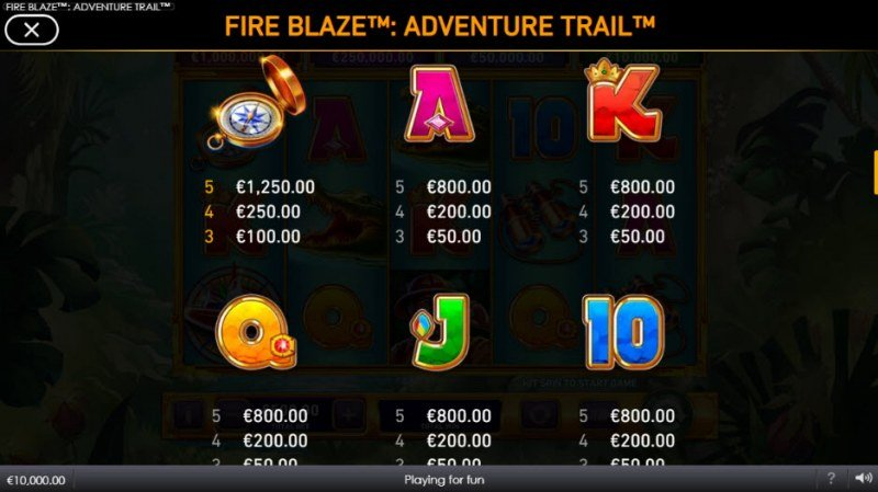 Adventure Trail Fire Blaze Jackpots :: Paytable - Low Value Symbols