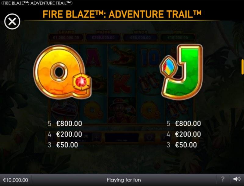 Adventure Trail :: Paytable - Low Value Symbols