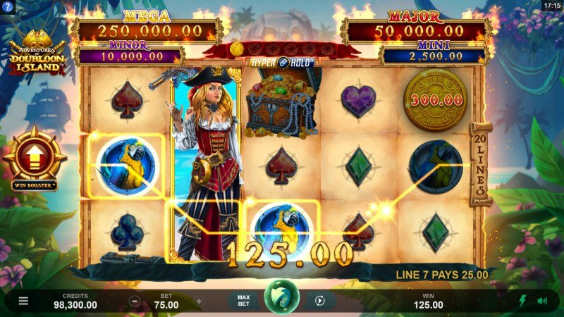 Adventures of Doubloon Island :: A three of a kind win
