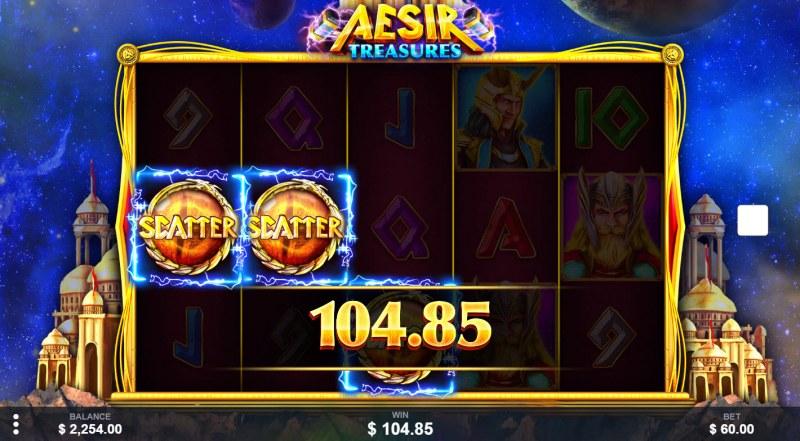 Aesir Treasures :: Scatter symbols triggers the free spins bonus feature