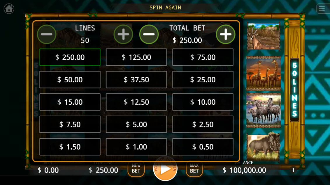 Africa Run :: Available Betting Options