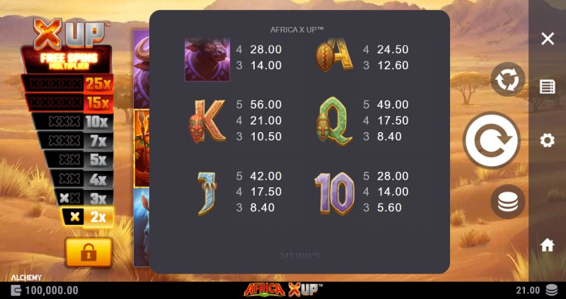 Africa X Up :: Paytable - Low Value Symbols