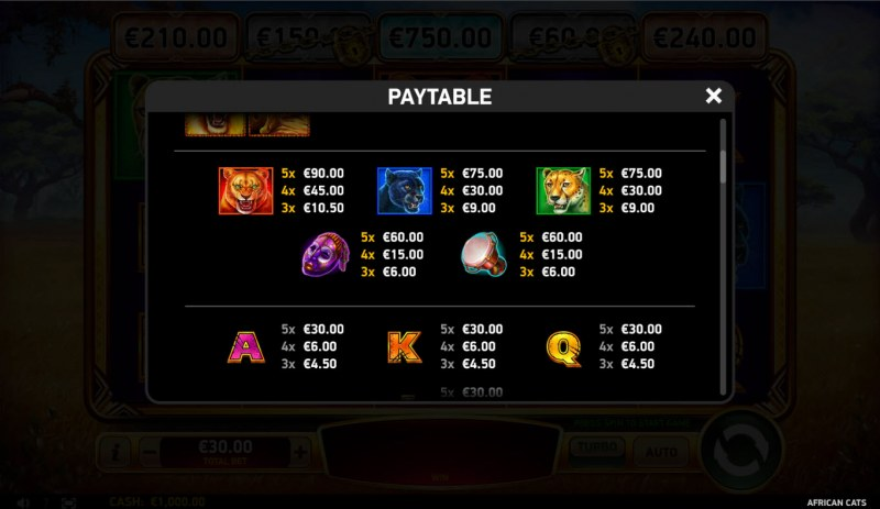 African Cats :: Paytable - High Value Symbols